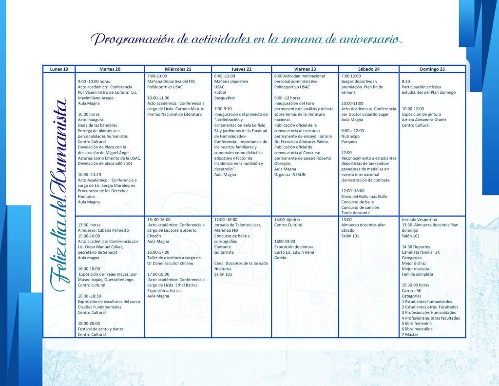 agenda humanidades